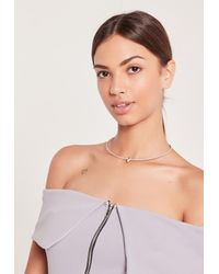 Missguided | Metallic Diamante Detail Choker Necklace Silver | Lyst