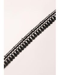 Missguided - Tassel Trim Detail Choker Necklace Black - Lyst