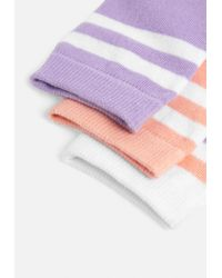 Missguided - Purple 3 Pack Striped Sneakers Socks - Lyst