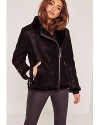 Missguided - Petite Faux Fur Lined Pilot Jacket Black - Lyst