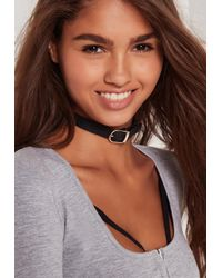 Missguided - Rounded Buckle Choker Necklace Black - Lyst