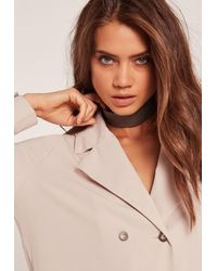 Missguided | Gray Glitter Choker Necklace Grey | Lyst
