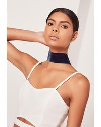 Missguided | Blue Wide Velvet Choker Necklace Navy | Lyst