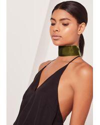 Missguided - Natural Wide Velvet Choker Necklace Khaki - Lyst