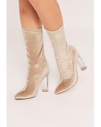 24f9a2016bdb Missguided Nude Velvet Perspex Heel Ankle Boots in Natural - Lyst