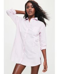 Missguided | Curve Hem Stripe Nightshirt Pink | Lyst