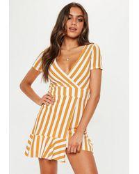 225c6e0122 Missguided Mustard Striped Asymmetric Mini Dress in Orange - Lyst