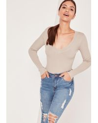 Missguided   Natural Petite Beige Deep Plunge Knitted Bodysuit   Lyst