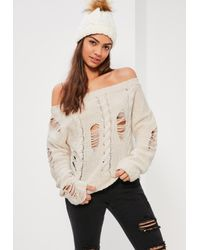 Missguided   Multicolor Cream Distressed Cable Off Shoulder Sweater   Lyst