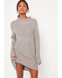 Missguided | Gray Grey Chunky Funnel Neck Mini Sweater Dress | Lyst