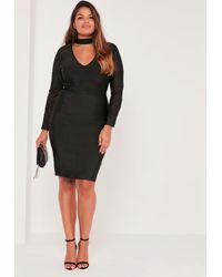 Lyst - Missguided Plus Size Mesh Panel High Neck Bandage Dress Black ...