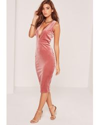 Missguided | Pink Extreme Plunge Sleeveless Velvet Midi Dress | Lyst