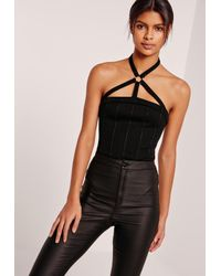 Missguided | Harness Neck Ring Detail Bodysuit Black | Lyst
