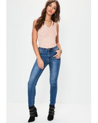 Missguided - Natural Nude Washed Deconstructed Neck Bodysuit - Lyst