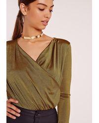Missguided | Slinky Wrap Drape Neck Bodysuit Green | Lyst