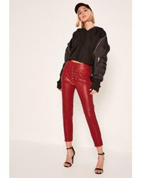 Missguided | Petite Exclusive Red Faux Leather Lace Up Trousers | Lyst
