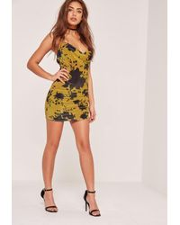 Missguided - Petite Exclusive Cowl Neck Printed Velvet Mini Dress Green - Lyst
