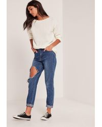 Missguided - White Cosy Tab Back Jumper - Lyst