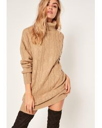 Missguided   Natural Camel Brushed Cable Knitted Turtleneck Sweater Dress   Lyst