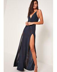 Missguided | Blue Navy Slinky Wrap Front Maxi Dress | Lyst