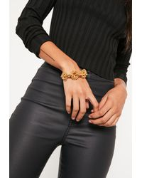 Missguided | Metallic Gold Statement Chunky Chain Bracelet | Lyst