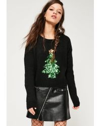 Missguided | Black Sequin Christmas Tree Jumper | Lyst