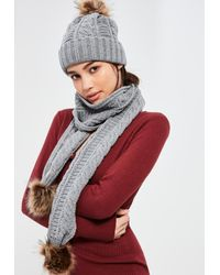 Missguided | Gray Grey Faux Fur Pom Pom Cable Knit Scarf | Lyst