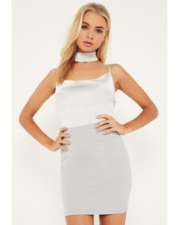 Missguided - Gray Grey Silky Cowl Choker Shift Dress - Lyst
