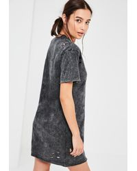 Missguided - Black Ripped Washed T Shirt Dress - Lyst