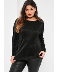 Missguided | Plus Size Exclusive Black Pleated Long Sleeve Crew Neck Top | Lyst