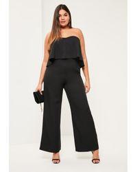 df295db152f Lyst - Missguided Plus Size Black Crepe Frill Wide Leg Jumpsuit in Black