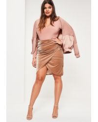 Missguided | Natural Plus Size Nude Velvet Wrap Midi Skirt | Lyst