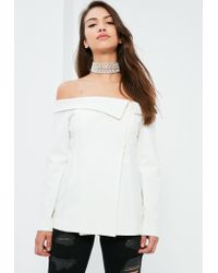 Missguided | White Bardot Fold Detail Blazer | Lyst