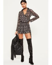 Missguided | Gray Grey Snake Print Wrap Front Shirt Romper | Lyst