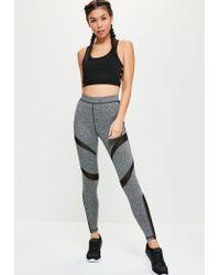 Missguided | Gray Active Grey Mesh Panel Full Length Sports Leggings | Lyst