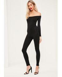 Missguided | Black Long Sleeve Bardot Jersey Unitard Jumpsuit | Lyst