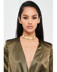 Missguided | Metallic Peace + Love Gold Lion Head Metal Choker Necklace | Lyst