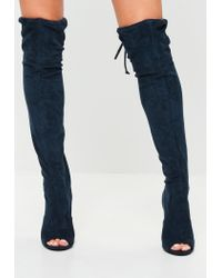 1a8eaf2ad845 Lyst - Missguided Navy Faux Suede Over The Knee Boots in Blue