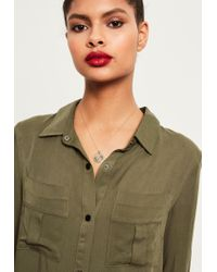 Missguided - Green Khaki Buckle Sleeve Military Shirt Dress - Lyst