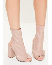 Missguided | Pink Ruffle Trim Peep Toe Heeled Boots | Lyst