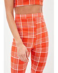 Missguided - Orange Check Print Kick Flare Pants - Lyst