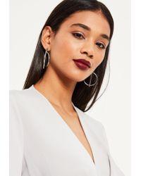 Missguided | Metallic Silver Bar Hoop Earrings | Lyst