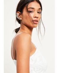 Missguided | Metallic Silver Jewelled Ear Cuff | Lyst