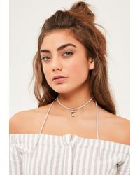 Missguided | Gray Grey Wrap Around Choker Necklace | Lyst
