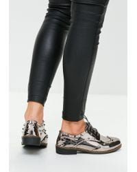 Missguided - Metallic Silver Studded Patent Brogue - Lyst