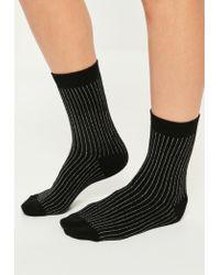 Missguided | Gray Grey & Black 2 Pack Glitter Stripe Socks | Lyst