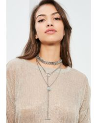 Missguided | Metallic Silver Layered Hardware Necklace | Lyst