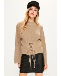 Missguided | Natural Camel Extreme Sleeve Corset Funnel Neck Jumper | Lyst