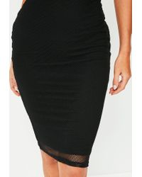 Missguided | Black Lined Mesh Midi Skirt | Lyst