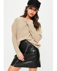 Missguided | Natural Camel Oversized Jumper | Lyst